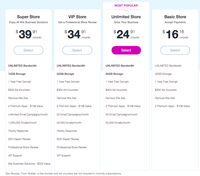 Wix Pricing Business